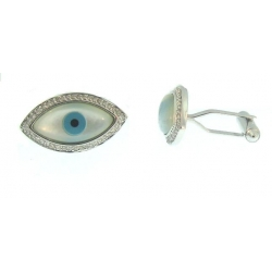 18Kt White Gold Mother Of Pearl, Turquoise, Onyx & Diamond Evil Eye Cufflinks (0.26cts tw)