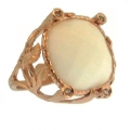 18Kt Rose Gold White Agate & Diamond  with Leaf Design Ring (0.07cts tw)