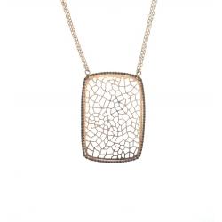 14Kt Rose Gold Black Diamond Web Design Necklace (0.62cts tw)