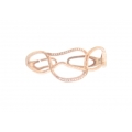 14Kt Rose Gold Hammered Diamond Cuff Bangle (0.18cts tw)