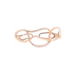 14Kt Rose Gold Hammered Diamond Cuff Bangle (0.18cts tw)