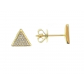 14Kt Yellow Gold Triangle Shape Diamond Earrings (0.10cts tw)
