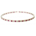 14Kt White Gold Princess Cut Ruby & Round Diamond Slip On Bangle (2.62cts tw)