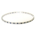 14Kt White Gold  Princess Cut Blue Sapphire & Round Diamond Slip On Bangle (2.73cts tw)
