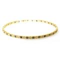 14Kt Yellow Gold Princess Cut Blue Sapphire & Round Diamond Slip On Bangle (2.69cts tw)