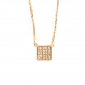 14Kt Rose Gold Square Shape Diamond Necklace (0.06cts tw)