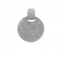 14Kt White Gold Round Shape Single Cut Diamond Pavé Pendant (0.92cts tw)