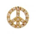 14Kt Yellow Gold Single Cut Diamond Peace Sign Pendant (0.12cts tw)