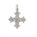 14Kt White Gold Single Cut Diamond Old English Cross Pendant (0.05cts tw)
