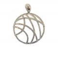14Kt White Gold Interlaced Single Cut Diamond Circle Pendant (0.67cts tw)