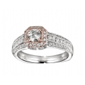 14Kt Two-tone Diamond Engagement Ring with Milgrain (0.90cts tw)