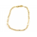 14Kt Yellow Gold Flat Diamond Cut & Corrugated Infinity Links Bracelet (1.40gr)