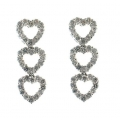 18Kt White Gold Three Diamond  Heart Dangle Earrings (0.95cts tw)