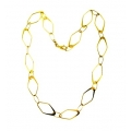 14Kt Yellow Gold Oval & Diamond Shape Link Necklace