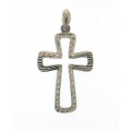 14Kt White Gold  Diamond Cut Cut Out Cross Pendant (2.80gr)