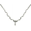 14Kt White Gold Wave Design Diamond Necklace (1.02cts tw)