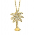 14Kt Yellow Gold Palm Tree Diamond Necklace (0.20cts tw)