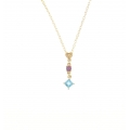 14Kt Yellow Gold Diamond, Amethyst & Blue Topaz Children's Necklace (0.27cts tw)
