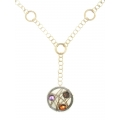 14Kt Yellow Gold Round Textured Links with Two-tone Wire Medallion with Amethyst, Citrine & Smokey Topaz (22.40gr)