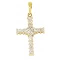 18Kt Yellow Gold Diamond Cross Pendant (0.42cts tw)