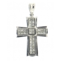14Kt White Gold Invisible Set Princess Cut Diamond Cross Pendant (0.98cts tw)