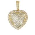 14Kt Yellow Gold Princess Cut & Round  Diamond Heart Pendant (1.73cts tw)
