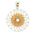 14Kt Two-tone Twisted Wire Circle Pendant (3.50gr)