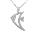 18Kt White Gold Diamond Fish Necklace (0.01cts tw)