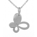 18Kt White Gold Diamond Butterfly Necklace (0.01cts tw)