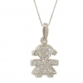 18Kt White Gold Diamond Baby Girl Necklace (0.09cts tw)
