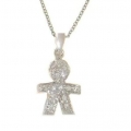 18Kt White Gold Diamond Baby Boy Necklace (0.08cts tw)