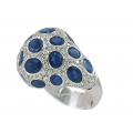 18Kt White Gold Oval Shape Blue Sapphire & Diamond  Bombé Ring (9.89cts tw)