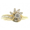 14Kt Yellow Gold Baguette, Marquis & Round Diamond Wave Ring (0.96cts tw)