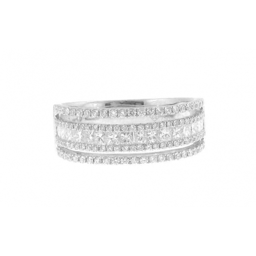 3117d32d5ff 18Kt White Gold Princess Cut   Round Diamond Three Row Wedding Band  (0.98cts tw)