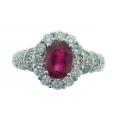 18Kt White Gold Oval Shape Burmese Ruby with Diamond Halo Ring (2.23cts tw)