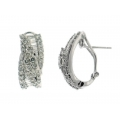 18Kt White Gold Round & Baguette Diamond Fancy Wave Design Earrings with Omega Clip (2.53cts tw)