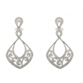 14Kt White Gold Single Cut Diamond Dangle Earrings with Milgrain (0.68cts tw)