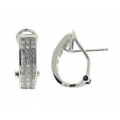 14Kt White Gold Three Row Invisible Set Princess Cut Diamond Earrings with Omega Clip (1.07cts tw)