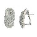 18Kt White Gold Tapered Baguette & Round Diamond Braided Design Earrings with Omega Clip (4.61cts tw)