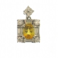 14Kt White Gold Oval Yellow Sapphire with Baguette & Round Diamond Pendant (1.89cts tw)