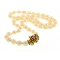 """18Kt Yellow Gold Diamond & Ruby Clasp with 18"""" Pearl Strand (0.67cts tw)"""