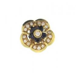 18Kt Yellow Gold Diamond & Blue Sapphire Clasp (0.80cts tw)