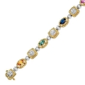 14Kt Two-tone Semi-precious Stones & Diamond Bracelet (3.56cts tw)