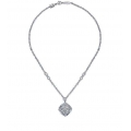 Silver Lace Design Diamond Necklace with Textured Link (0.12cts tw)