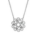 Silver Spiral Diamond Necklace with Milgrain (0.13cts tw)