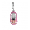 Sterling Silver Pink Baby Shoe Pendant (0.01cts tw)
