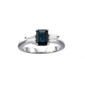 14Kt White Gold Emerald Cut Blue Sapphire with Tapered Baguette Diamond Ring (0.33cts tw)