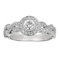 14Kt White Gold Bezel Set Diamond Engagement Ring with Milgrain (0.50cts tw)