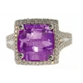 14Kt White Gold Convertible Amethyst & Diamond Ring/Pendant (5.81cts tw)
