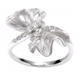 14Kt White Gold Bow Design Diamond Ring (0.10cts tw)
